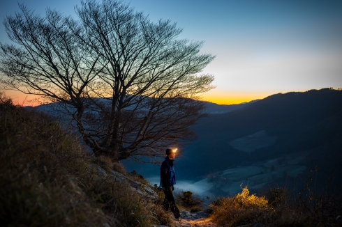 Dawn-light, headtorch and stars; best time of the day to walk in the mountains