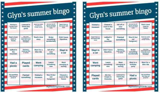Ice Breaker Summer Holidays Human Bingo Glyn Online